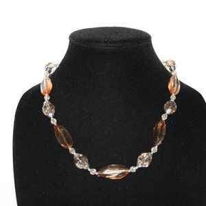 Orange and silver beaded necklace adjustable
